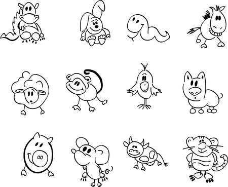 Cartoon style chinese zodiac signs Vector