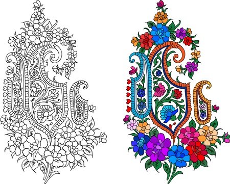 Indian textile motif with colored live painting