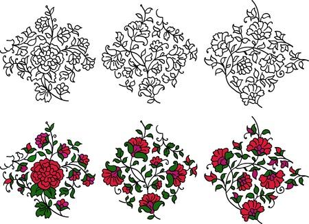 Drie verschillende kleurrijke bloeien motieven