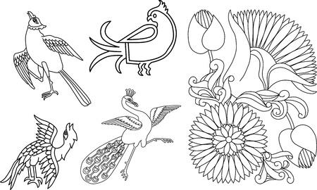Paon style indien et motif fleur Banque d'images - 15215309