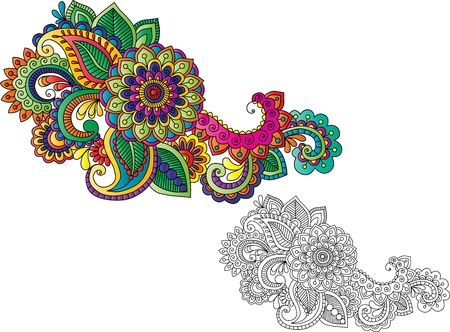 Henna tattoo with live paint groups and base motif Vector