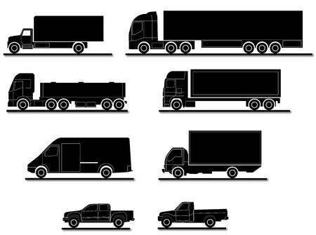 semi truck: Varias siluetas de camiones para el transporte Vectores