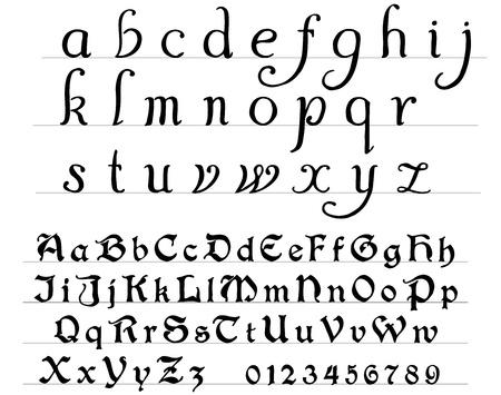 Middeleeuwse gedrukte en handgeschreven alfabet Stock Illustratie