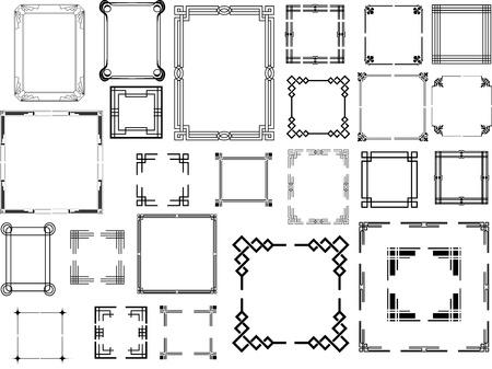 Set van verschillende type art deco frames