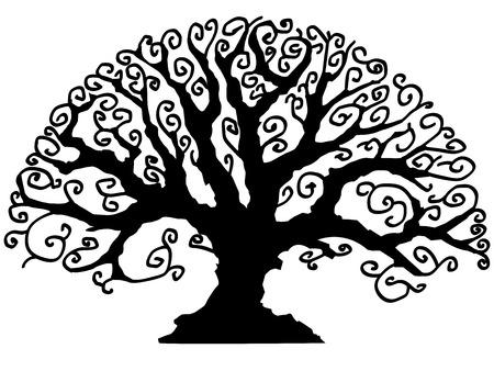 Vector boom in zwart-wit Stock Illustratie
