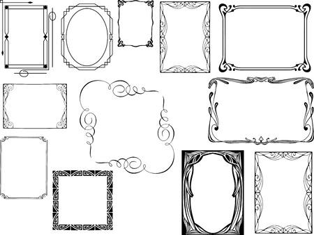 Set van art deco frames Vector Illustratie