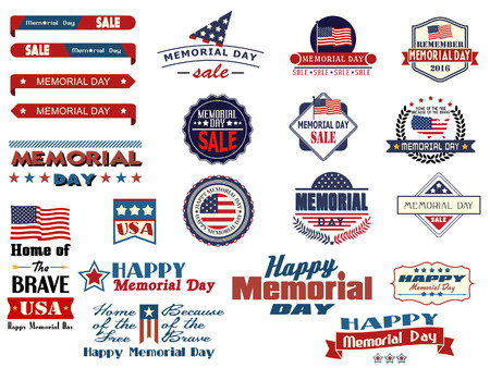 Various Memorial Day sale badges and sticke Illustration