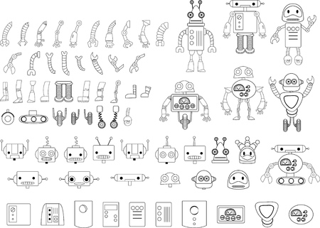 Het verzamelen van doodle robots en elementen Stock Illustratie