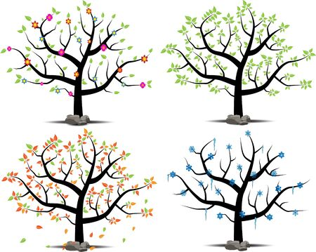 Ttree with 4 different seasons Illustration
