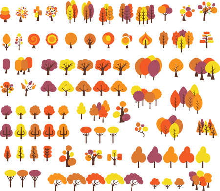 Vector set of trees with different stlye in fall