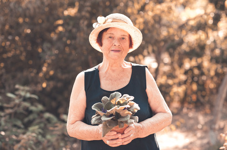 Smiling senior woman holding flower in pot wearing summer clothes and straw hat in garden. Looking at camera. Posing outdoors at nature sunny background. 80s.