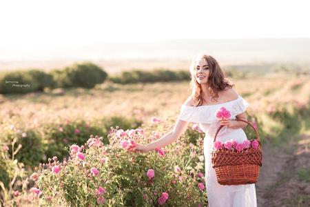 美しい少女 24 29 歳身に着けている白いドレス バラのバスケットを屋外開催の笑みを浮かべてください。カメラを見ています。ローズ フィールドで