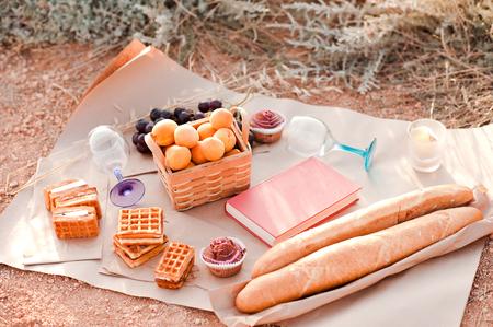 パン、ケーキ、ワッフル、フルーツ、本屋外とのピクニックを行います。夏の休日。