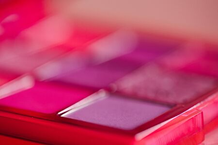 Beauty product closeup. Makeup palette in pink shadow. Selective focus. 写真素材 - 131954622