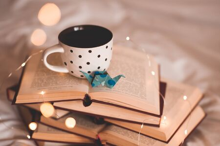 Cup of coffee with paper origami decorative crane on stack of open books closeup. School time.