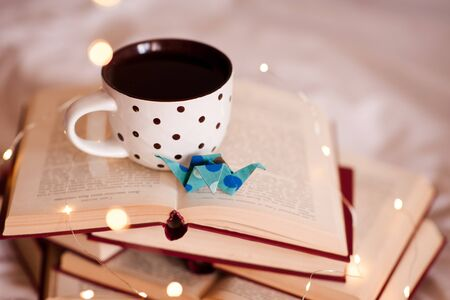 Mug of coffee with paper origami crane on open books close up. School time. Education concept.