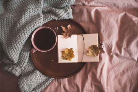 Cup of black tea with open note book on wooden tray and knitted sweater in bed close up. Autumn season. Good morning. Breakfast time.
