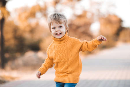 Funny baby girl 1-2 year old wearing knitted yellow sweater walking in autumn park outdoors close up. Looking at camera. Fall season. Childhood. Archivio Fotografico