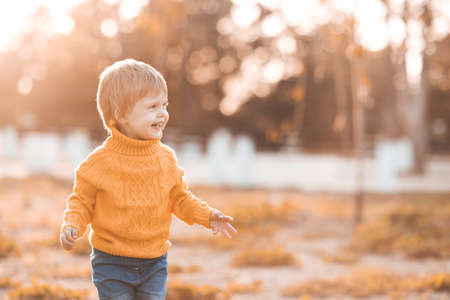 Funny baby girl 1-2 year old wearing knitted yellow sweater walking in autumn park outdoors close up. Fall season. Childhood.