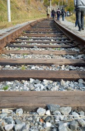 railtrack: The Circum-Baikal Railway  People, walking along rail-track