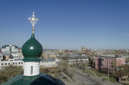 front elevation: City view from the bell tower of the Holy Savior image church  Irkutsk