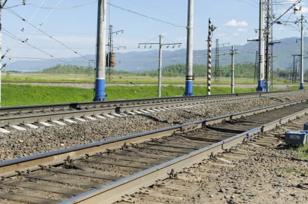 Section of railway in the south of Lake Baikal photo