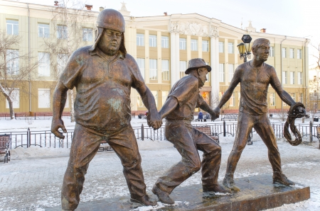 trus: A scene from the film  Caucasian Captive  - Coward, Experienced and Goony  Monument in Irkutsk