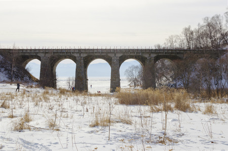 viaducts: One of the viaducts of Circum-Baikal Railway in winter