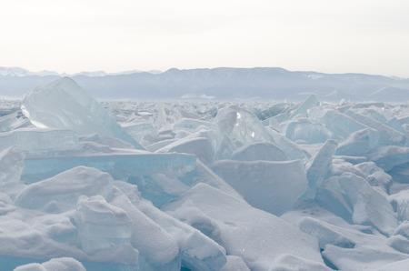 hummock: Frozen Lake Baikal  The blue ice ridges