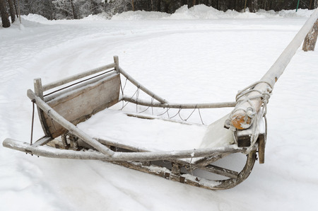skids: Wooden sledges on poles extending for skiing in a circle