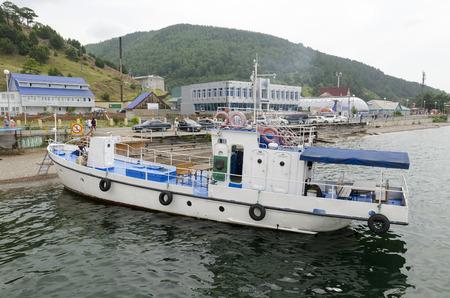 listvyanka: Ship at the pier in Listvyanka village. lake Baikal