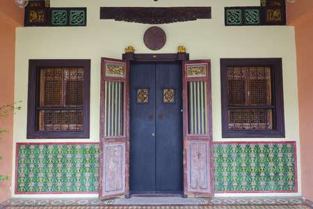 old town house: The streets of the old town, house entrance - Thalang Road, Phuket Town, Thailand