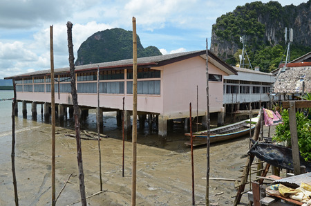 dais: School on stilts in Koh Panyee Floating Village in the Andaman Sea, Thailand