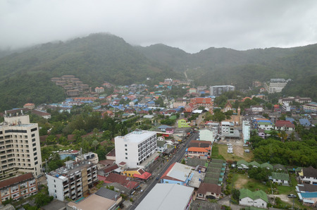 rise to the top: Top view of Karon - the second largest recreation center on Phuket on a cloudy day