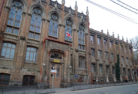 neogothic: Secondary school building in neo-Gothic style in the Lado Asatiani street. Tbilisi, Georgia Editorial