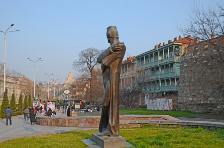 Monument to the architect Shota Kavlashvili on N.Baratishvili street in Tbilisi Editorial