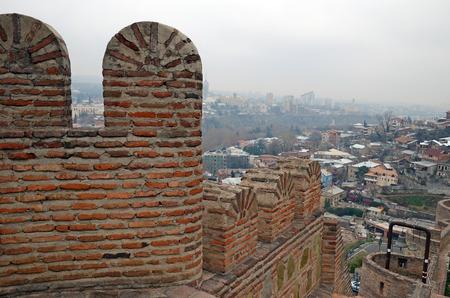 tbilisi: Narikala - Tbilisi defensive fortress. Brick walls