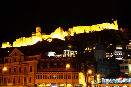 tbilisi: View of Narikala fortress at night. Tbilisi, Georgia Editorial