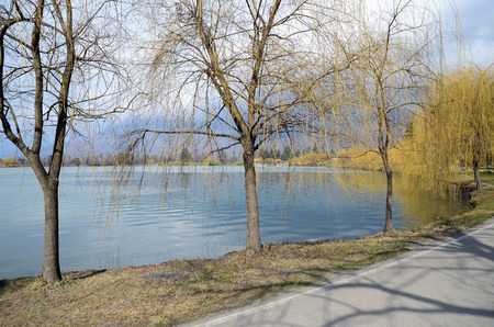 pacification: Lopota Lake in early March. Kakheti, Georgia Stock Photo