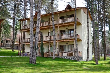 pacification: Kakheti, Georgia-March, March 2015: Housing of hotel complex Lopota Resort. Lopota Lake, Georgia
