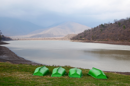 pacification: Kvareli Lake in overcast day in early spring. Kakheti Region, Georgia