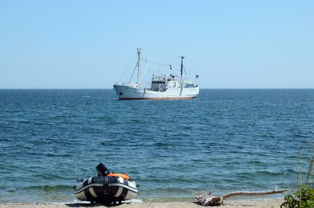 seismic: Baikal, Russia - July,26 2015: The research vessel on Lake Baikal