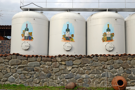 Wine factory in Kinzmarauli Corporation in Kvareli. Kakheti region, Georgia.