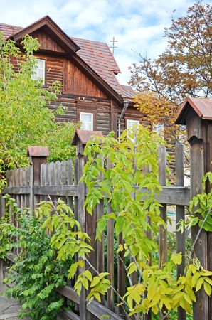architectonics: The wooden house behind fence on Irkutsk street, Russia
