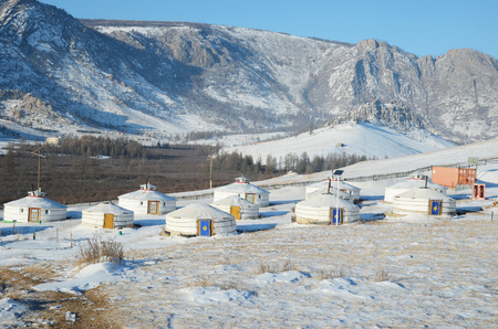 nomadic: The camp of nomadic Yurts in the Mongolian Steppe at Terelj National Park