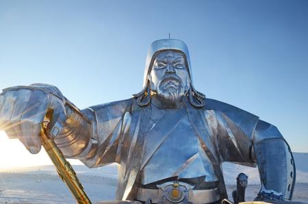 khan: Genghis Khan with Legendary golden whip.  Statue Complex near Ulaanbaatar