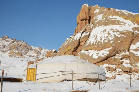 nomadic: Nomadic Yurt in Terelj National Park in winter. Mongolia