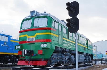 mainline: Ulaanbaatar, Mongolia-Dec,02 2015: Two-piece mainline locomotive 2M62M. Museum of railway equipment in Ulaanbaatar Editorial