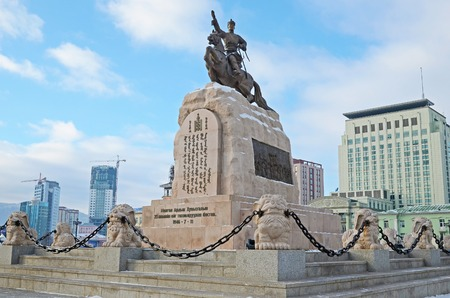 independent mongolia: Sukhbaatar Monument on central square in Ulaanbaatar. Mongolia Editorial