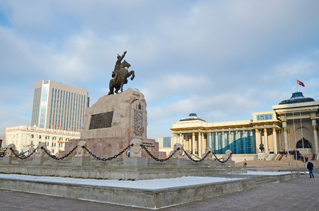 central square: Sukhbaatar Monument on central square in Ulaanbaatar. Mongolia Editorial